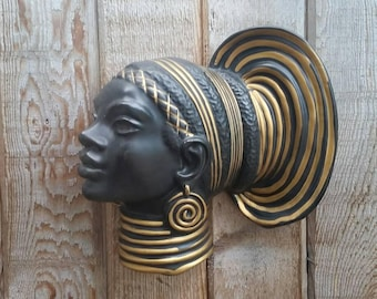 Vintage Ceramic Wall Hanging African Queen, Lady Head Wall Decor, African, Mid Century Decor, Mid Century Modern Ceramic Art.