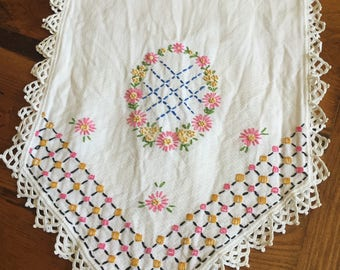 Vintage Table Runner with Pink & Gold Embroiderd
