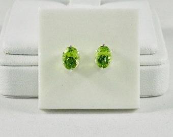 Peridot 1.80 TCW 7 x 5 MM Oval Cut Sterling Silver Stud Earrings