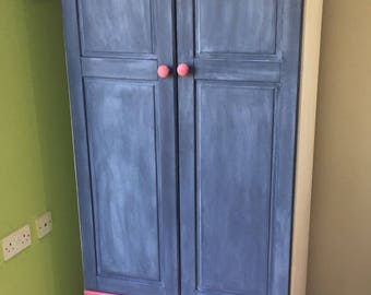 Upcycled Red & Blue Wardrobe in Autentico Chalk Paint
