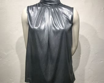 Vintage Worthington Silver Metallic Mock Neck Sleeveless Blouse