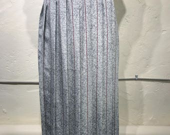 Vintage Water Drop and Maroon Striped Metallic Grey Pleated Midi Skirt