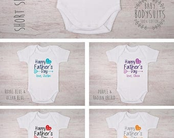 LATE SHIP SALE First Father's Day Baby Outfit, Happy 1st Father's Day Personalized Baby Bodysuit, Baby Boy Outfit, Baby Girl Outfit, Father'