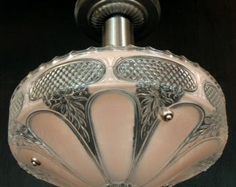 Vintage Lighting: Classic bead chain fixture with 1930s pressed glass shade