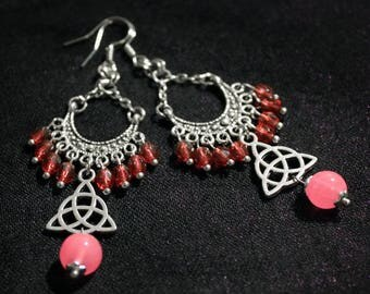 Earrings American ties with red and pink glass beads and silver-plated triquetra charm