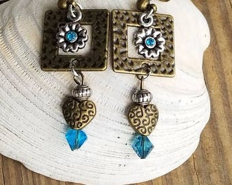 Antique Brass & Silver w/Turquoise Earrings