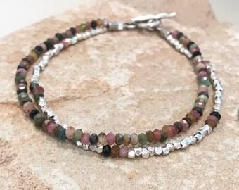 Multicolored bracelet, tourmaline bracelet, gemstone bracelet, sundance style bracelet, sterling silver bracelet, Hill Tribe silver bracelet