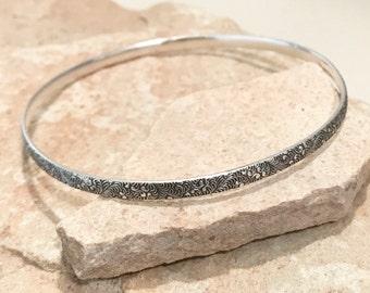Sterling silver patterned bangle bracelet, silver bangle bracelet, stackable sterling silver bracelet, sterling silver bangle, gift for her