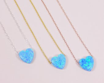 Opal Heart Necklace / Heart Pendant Necklace  / Blue Heart Necklace /  Valentines Day Gifts / Sterling Silver Heart Necklace / Gifts for Her