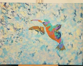 Rainbows and Hummingbirds, Original Acrylic Painting, One of a kind painting, Canvas Painting.