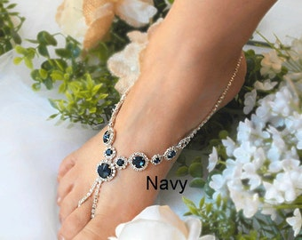 Navy Wedding Barefoot Sandals, PinkBridal Foot Jewelry,Color Rhinestone Silver Plated  Foot Jewelry, Footless Sandal, Beach Sandals -SD032
