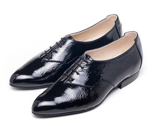 Sale! Women oxford shoes, black leather shoes, black glossy oxfords, flat tie shoes, womens shoes, handmade leather shoe. Cherry model