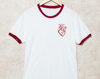 Human Heart Shirts Heart Shirt Anatomy Tshirt Anatomical T-Shirt Ringer White Size S , M , L , XL , 2XL , 3XL three color ring