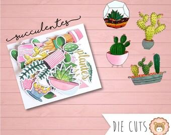 Die cuts aquarelle Succulentes - découpes - embellissements
