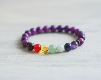 7 Chakra Sugilite Bracelet - Healing Bracelet - Sugilite Bracelet - Chakra Bracelet - Mala Bracelet - Yoga Bracelet - Chakra Jewelry