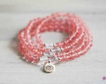 EMOTIONAL HEALING - Cherry Quarz 108 Mala - Wrist Mala - Intention Mala - Healing Jewelry - Yoga Bracelet - Gemstone Mala - Healing Jewelry