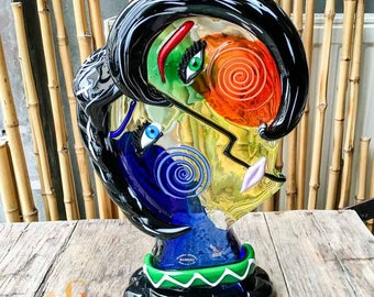 Picasso Face Blown Glass Sculpture – Italian Murano Glass Abstract Sculpture – Picasso Heads Glass Sculpture 42 cm / 16.5 inch Made in Italy