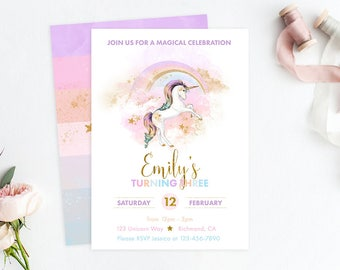 Rainbow Unicorn Invitation, Unicorn Birthday, Unicorn Party, Rainbow Invitation, Rainbow Birthday, Rainbow Party, Unicorn Invite, Printable
