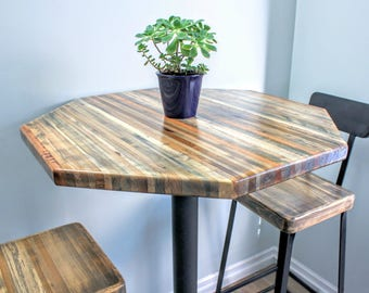 "Bar Height Reclaimed Wood Table - 30"" Octagon"