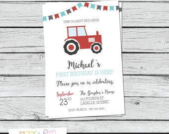 Red Tractor Birthday Invitation - Tractor Invitation - Tractor Birthday Party - Boys Birthday Invitation - Printable Birthday Invitation