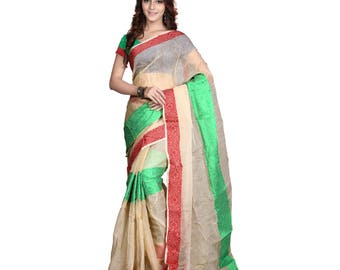 Indian Designer Beige Colored Banarasi Silk Saree Bollywood Party Wear Engagement weeding  Readymade trendy silk Saree Blouse women