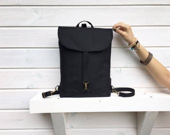 Black Waxed Canvas Backpack, Solid Black Backpack, Women's 2in1 Rucksack, Vegan Crossbody Bag, Waterproof Backpack, Vegan Backpack