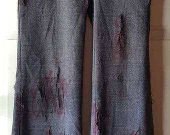 Hand Painted Gory Zombie Dress Pants Halloween Costume Size 3 OOAK