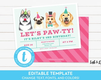 Dog Birthday Invitation - Pawty Birthday Invitation - Birthday Invitation for Girls - Dog Birthday Party Invite - Printable Invitation
