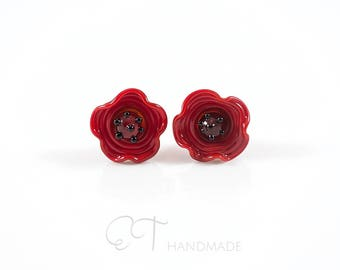 Murano glass flower studs - Made in Italy flower stud earrings - Red poppy earrings