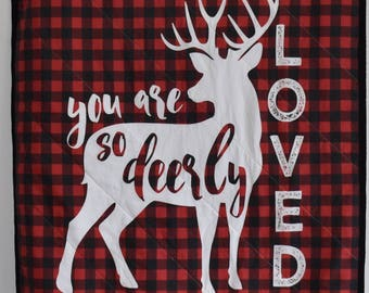 Woodland Baby Quilt, Woodland Nursery, Modern Quilt, Minky, Blanket, deer, fawn, doe, stag, baby boy, lumberjack