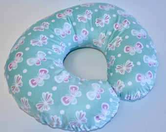 Mint Butterflies Cover - insects, nursing pillow cover,  nursery,  girl , pink, gray, mint