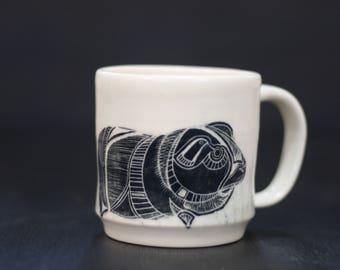 Handmade, wheel-thrown Guinea Pig Mug