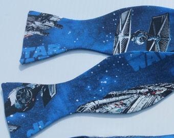 Star Wars Tie Fighter Adjustable Self Tie Bow Tie  Blue Black X-wing Fighter, Millenium Falcon