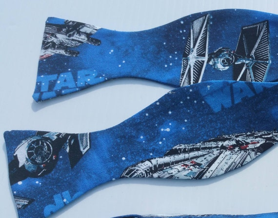 Star Wars Tie Fighter Adjustable Self Tie Bow Tie  Blue Black X-wing Fighter, Millenium Falcon