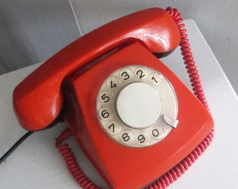 Vintage Rotary Phone, Soviet Red Rotary Telephone, Antique Home Phone, Working Retro Phone