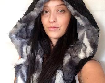 reversible long hood/ grey mottled faux fur/ black snuggle fleece/ faux suede / scoodie/ spirit hood/ warrior hood/ cuddle hood