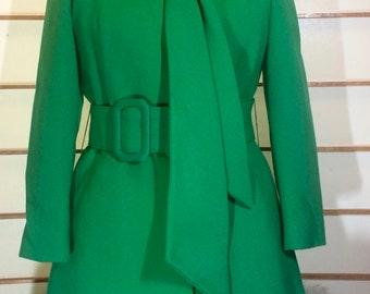 1960s 60s Mod Lilli Ann Coat and Dress Green Wool and Fox Fur Trim Mad Men St. Patrick's Day S