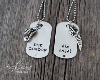 Her Cowboy, His Angel hand stamped dog tag couples necklaces, country lyrics, country love, cowboys & angels