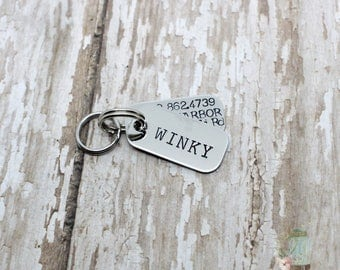 Hand stamped 2 layer tiny dog tags / dog tags for dogs / small dog / cat tag