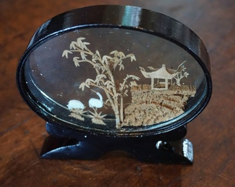 Vintage Chinese Cork Carving/ Black Lacquer Frame/ Pagoda/ Chinoiserie/ Traditional Decor