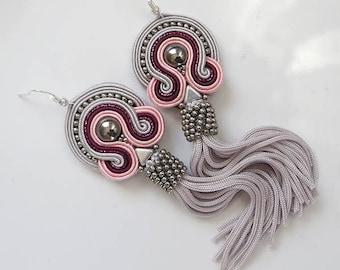 Powder pink tassel earrings pale pink gray Earrings Pastel Jewelry Silky Thread Tassel pale pink tassel, hand made silk tassel