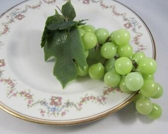 Vintage Grapes Realistic Plastic Fruit Cluster Light Green Translucent Rubbery Grapes Artificial Fruit 60s Kitchen Prop