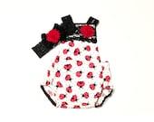 Ladybug Baby Romper Set, Lace Headband, First Birthday, Ladybugs, Cake Smash, Toddler, Summer, Newborn