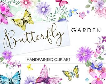 Watercolour Spring Florals: BUTTERFLY GARDEN Digital Clip art. Handpainted, floral, wedding elements, summer flowers, invite, frames