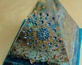 "Ocean Mandala 4.5 x 5"" Glow in the Dark Orgone Pyramid (110 x 125mm) Crystal Energy"