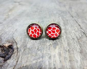 animal print Stud Earrings, Stud Earrings, 12mm stud, brass