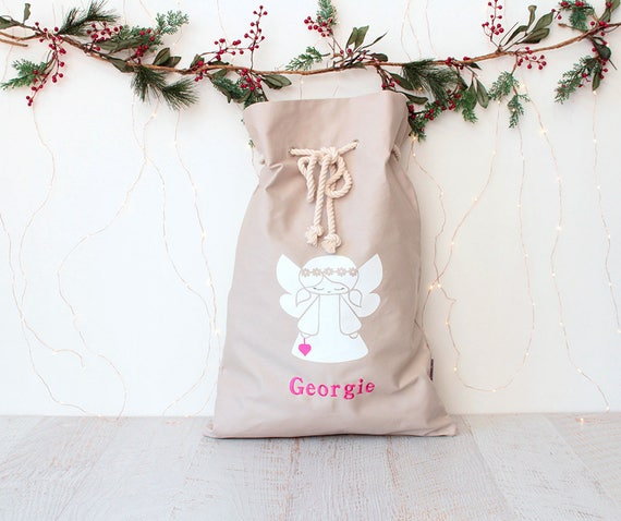 Personalised Santa Sack Angel with Hot Pink Heart
