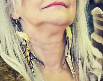 Feather Earrings Native Tribal Nomad Ethnic Hippie Nature Boho Beads