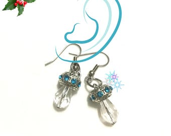 Crystal Drop Earrings, Blue and Silver Earrings, On Trend Stylish Earrings, Girlfriend gift, Appreciation Gift,Free local Shipping