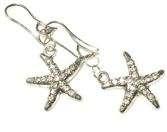 Rhinestone Starfish Earrings, Silver Starfish Earrings, On Trend Earring, Teachers Xmas Gift, Student Gift, Ageless Gift, Anytime Gift